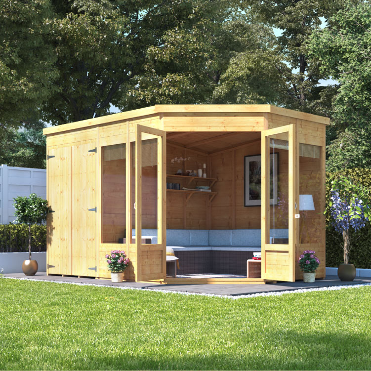 Billyoh penton corner summerhouse with side store garden for Side of the house storage shed