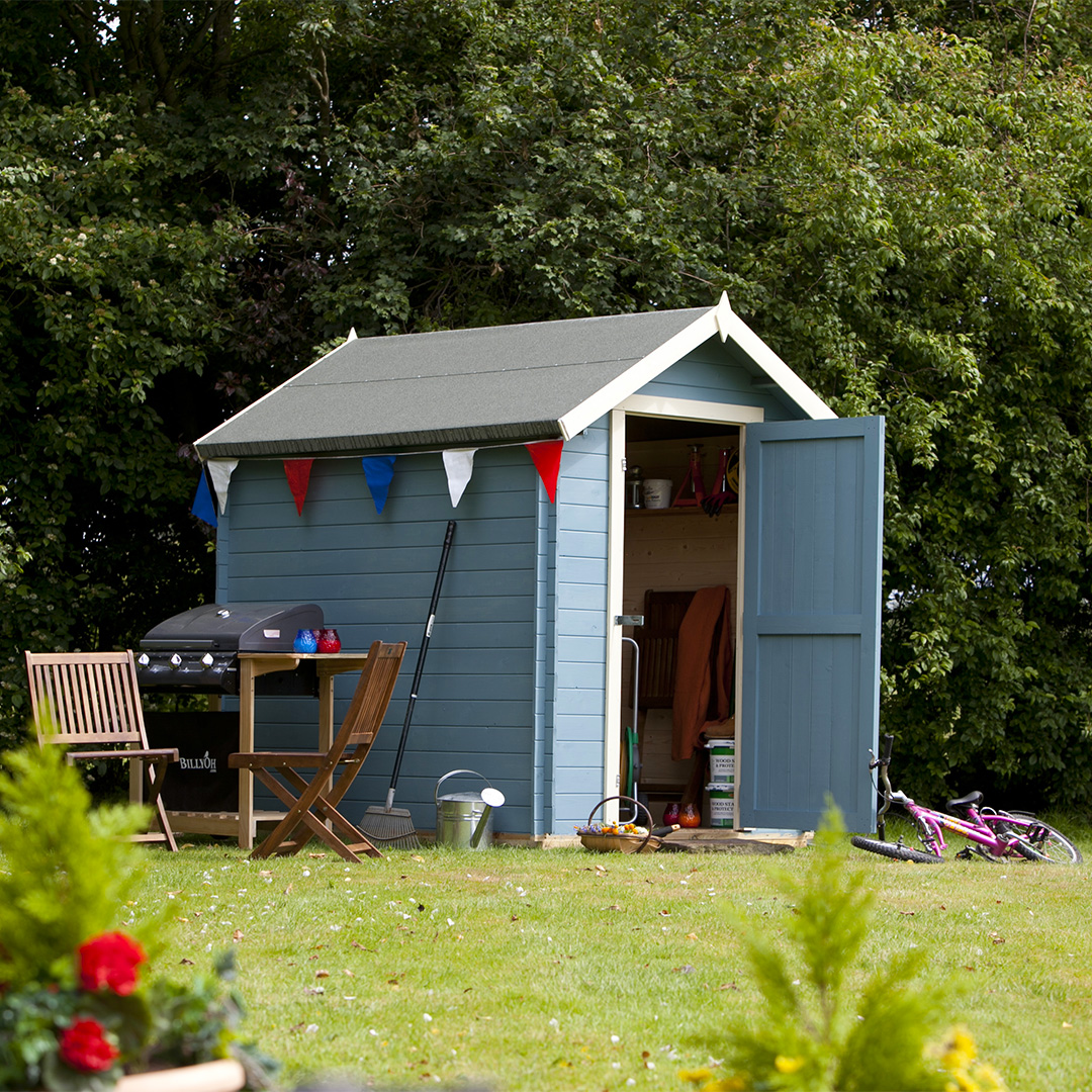 Billyoh 8 x 6 19mm log cabin heavy duty garden shed garden for Garden sheds and garages