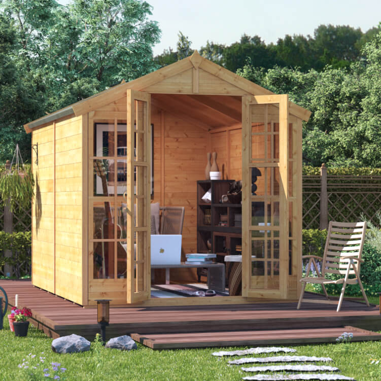 Billyoh harper tongue and groove apex summerhouse garden for Garden shed 12x10