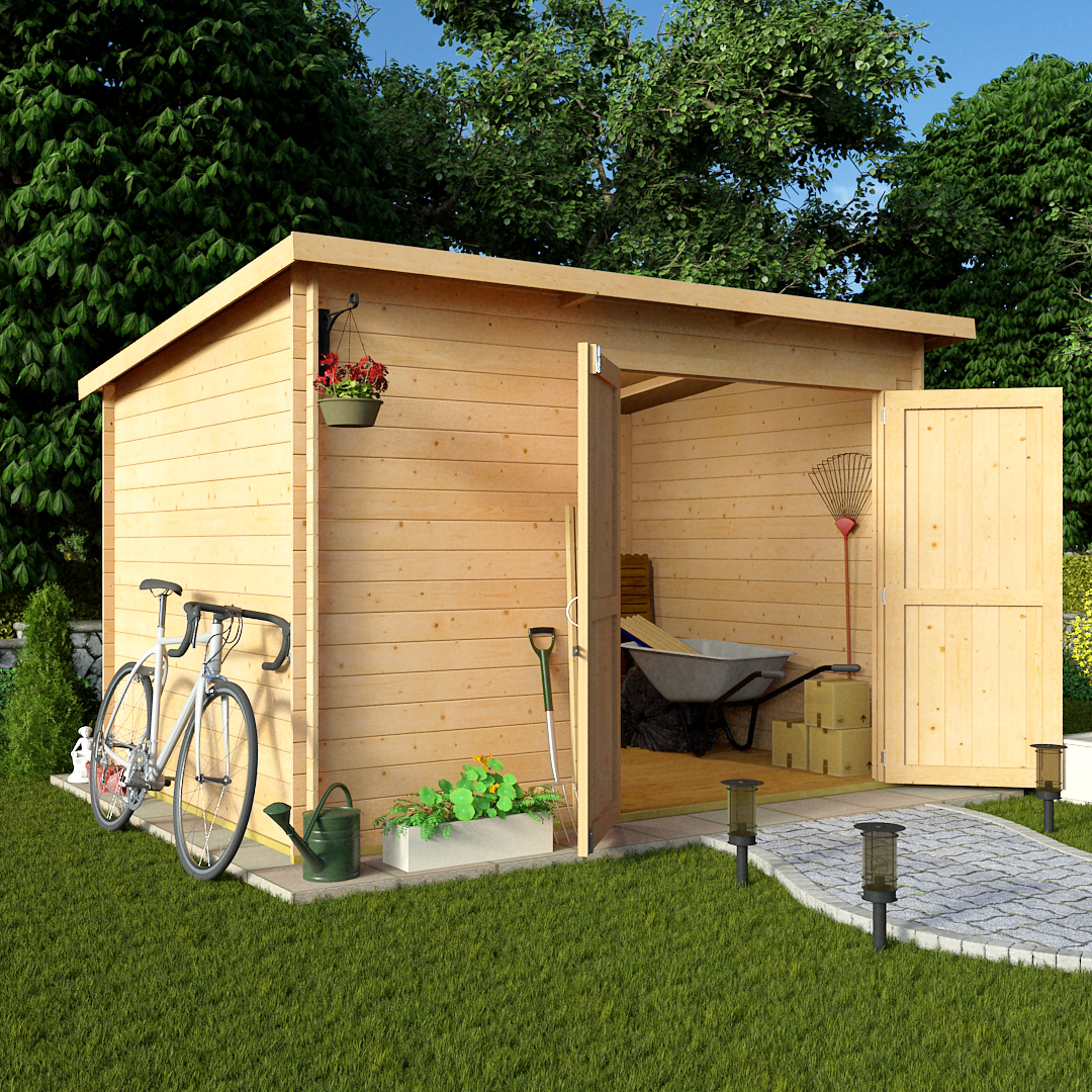 Billyoh 10 x 8 19mm pent log cabin windowless heavy duty for Sheds and barns