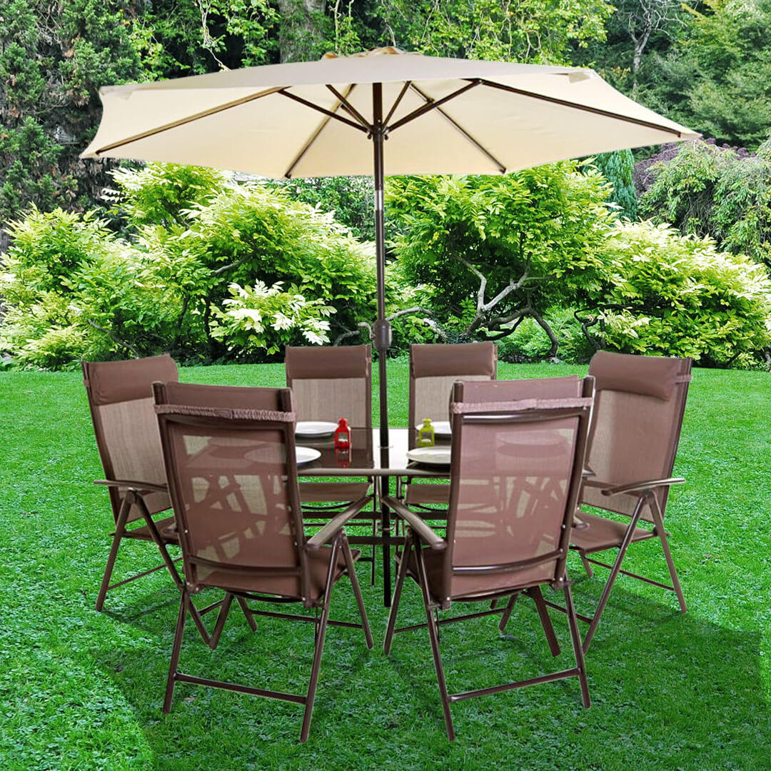 Billyoh comfort 6 seater rectangular brown metal garden for Metal garden furniture