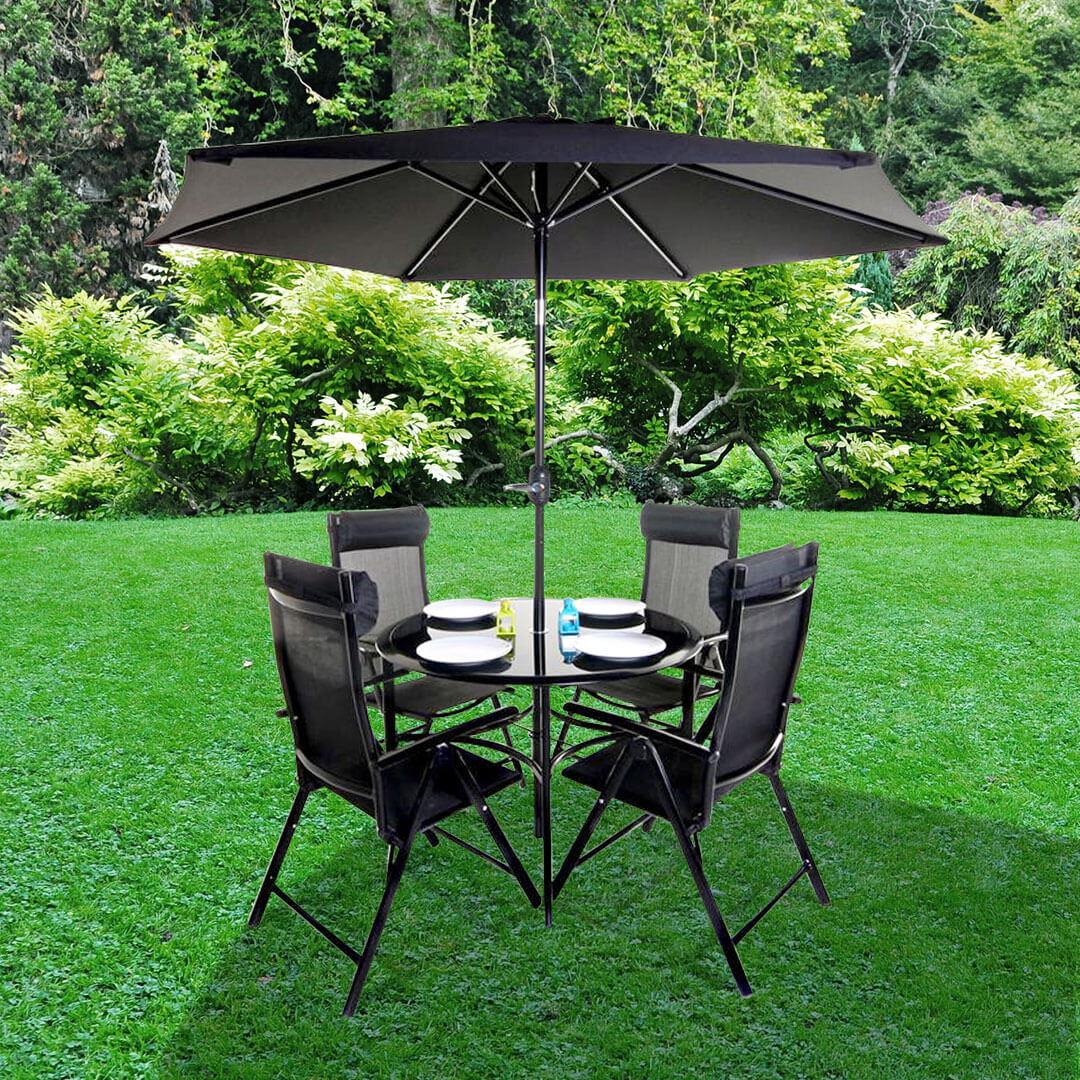 Cheapest Garden Table And Chair Sets: BillyOh Comfort 4 Seater Black Round Metal Garden