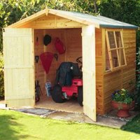 Wickes Apex Overlap Dip Treated Double Door Shed - 6 x 8 ft with Assembly